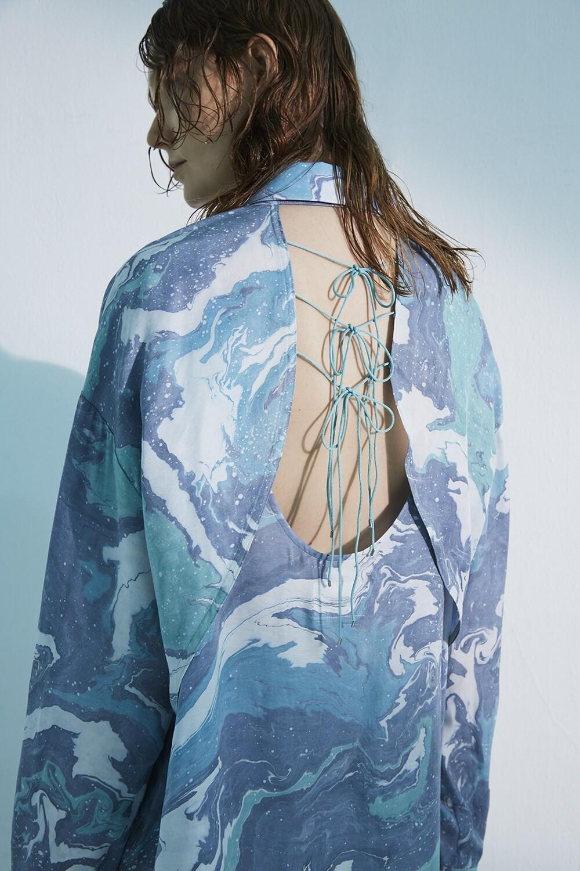 Suminagasi Dye Back Open Shirt