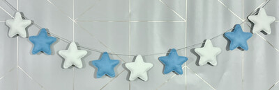 Handmade Felt Blue And White Star Garland