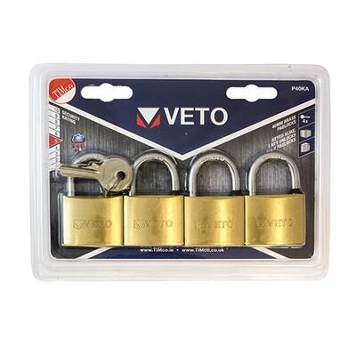 Veto Brass Padlock x 4 K/A