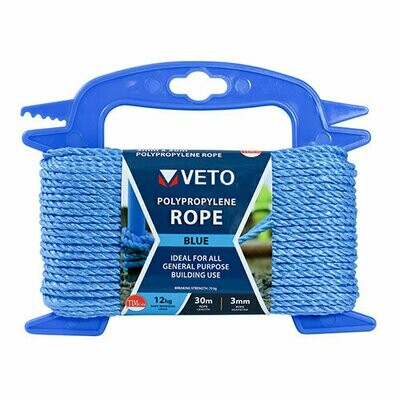 Blue Poly Rope - Winder 10mm x 10m
