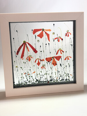 Red flowers In Box Frame