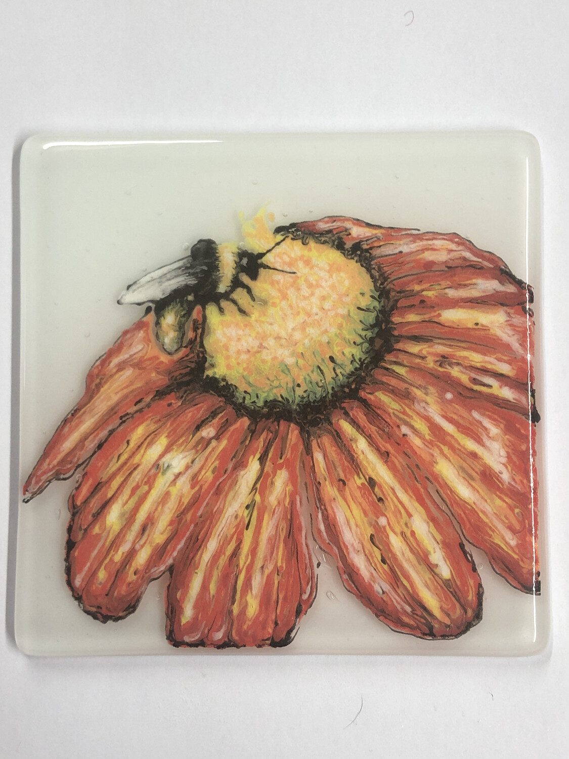 Hand painted Flower & Bee