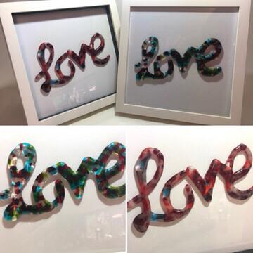 Multi Blue 'love' Box Frame