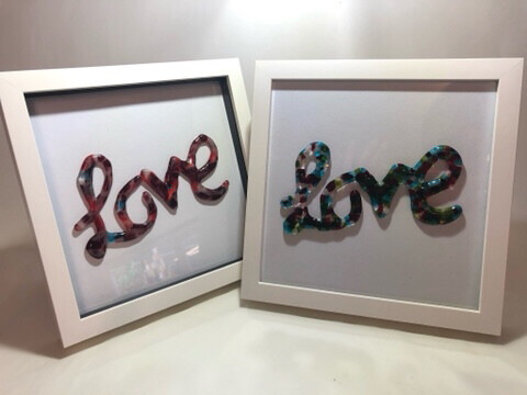 Red 'Love' In Box Frame