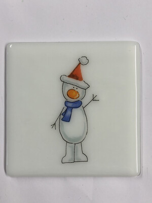 Snowman Coaster Red Hat