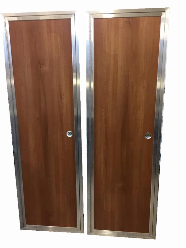 Aluminium and Wood effect faced doors.