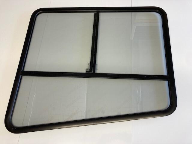 Teardrop Window Black Frame/Grey Tinted Glass