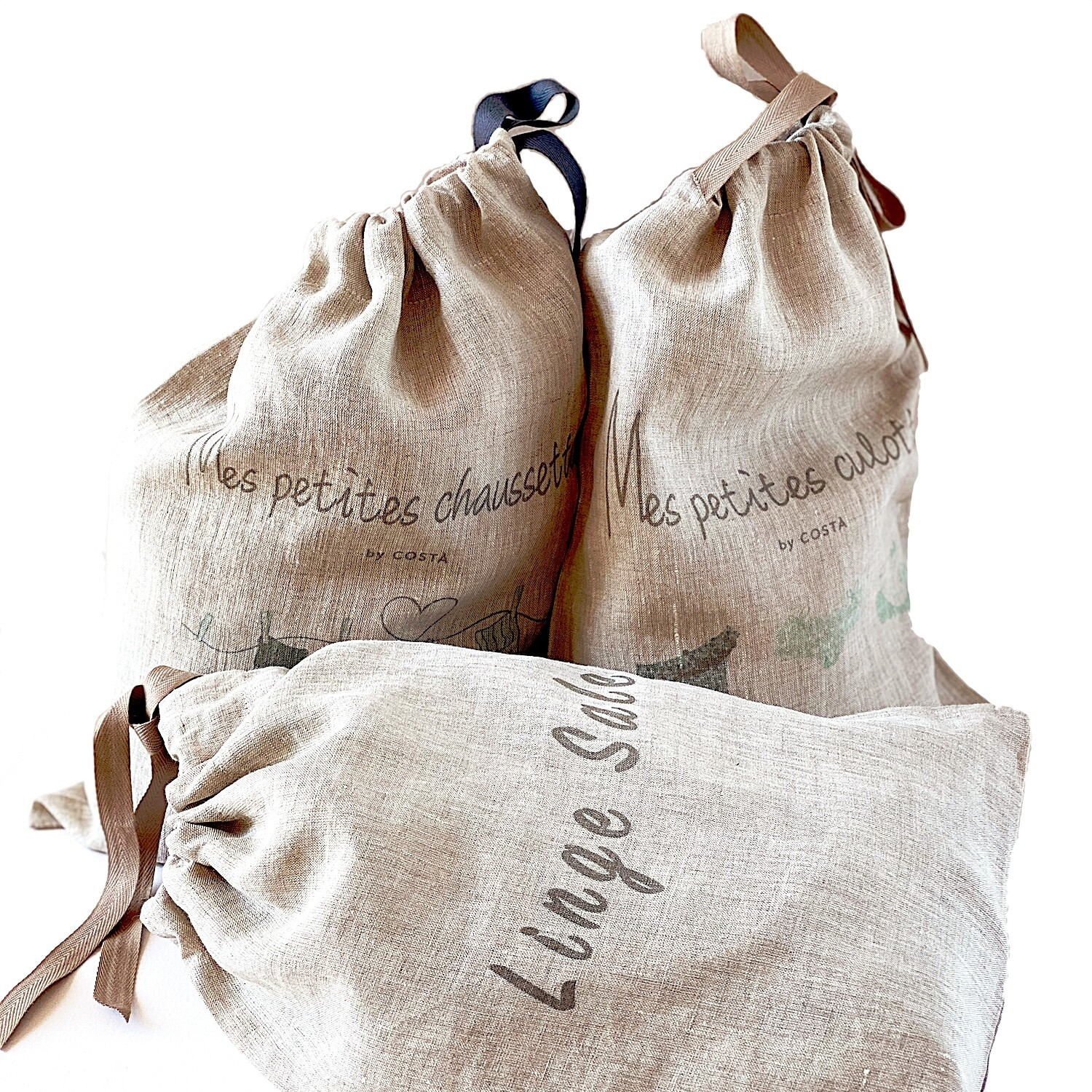 MY  3 SMALL LINEN  LAUDRY BAGS