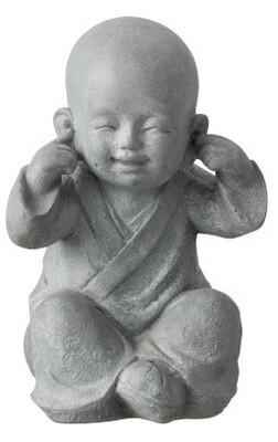 """Enfant Moine de la sagesse """"je n'entend rien..."""" 26 cm"""