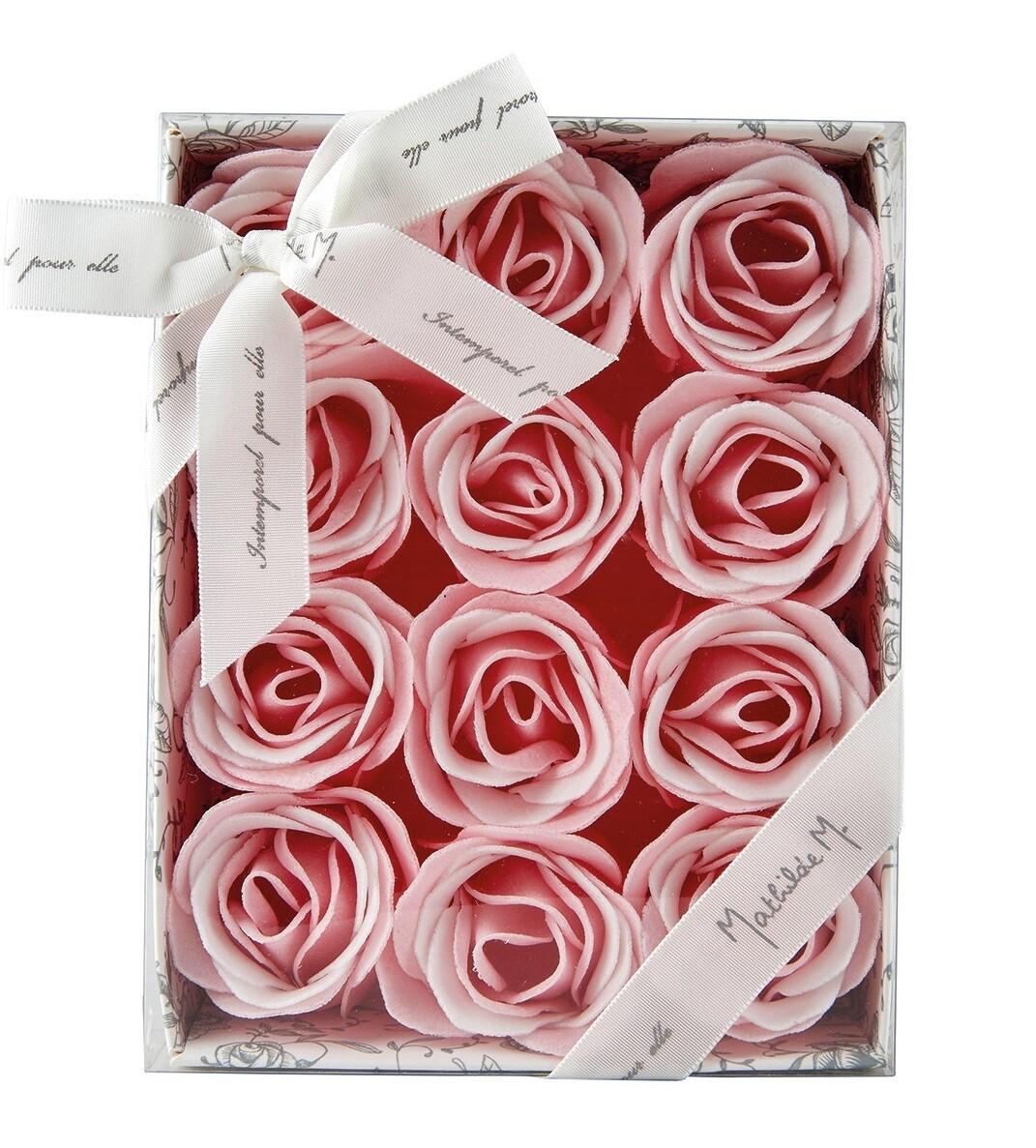 Coffret de 12 Roses en feuilles de savon (parfum rose)