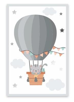 """Toile """"Mon petit chat en montgolfière"""""""