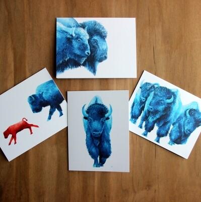 Blue Bison Greeting Cards (set of 8)
