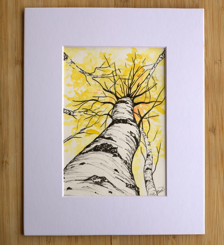 Aspens: Watercolor and Ink Art