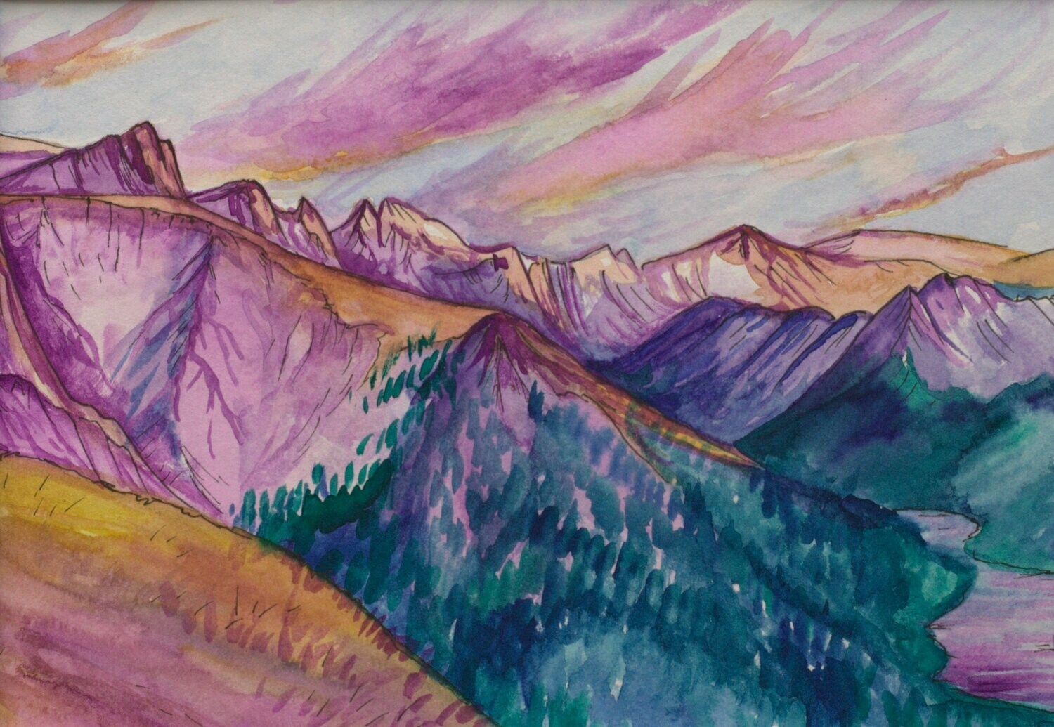 Sunrise in the Beartooths: A pink mountain landscape
