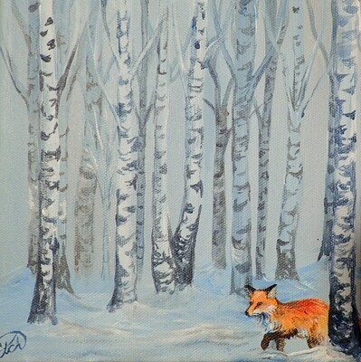 A Fox in the Snow: Mini Painting