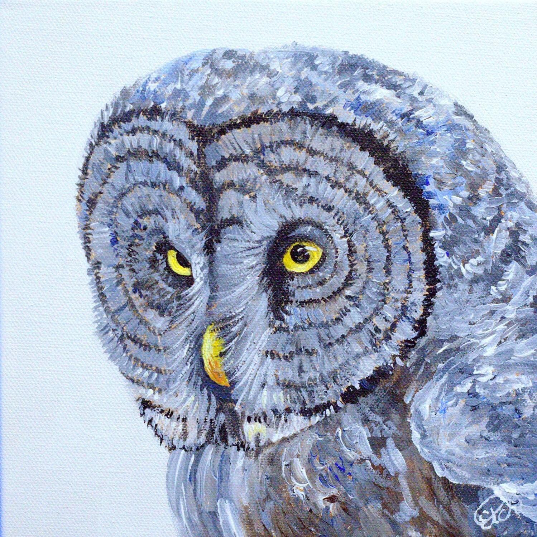 Great Grey Owl Mini Painting!