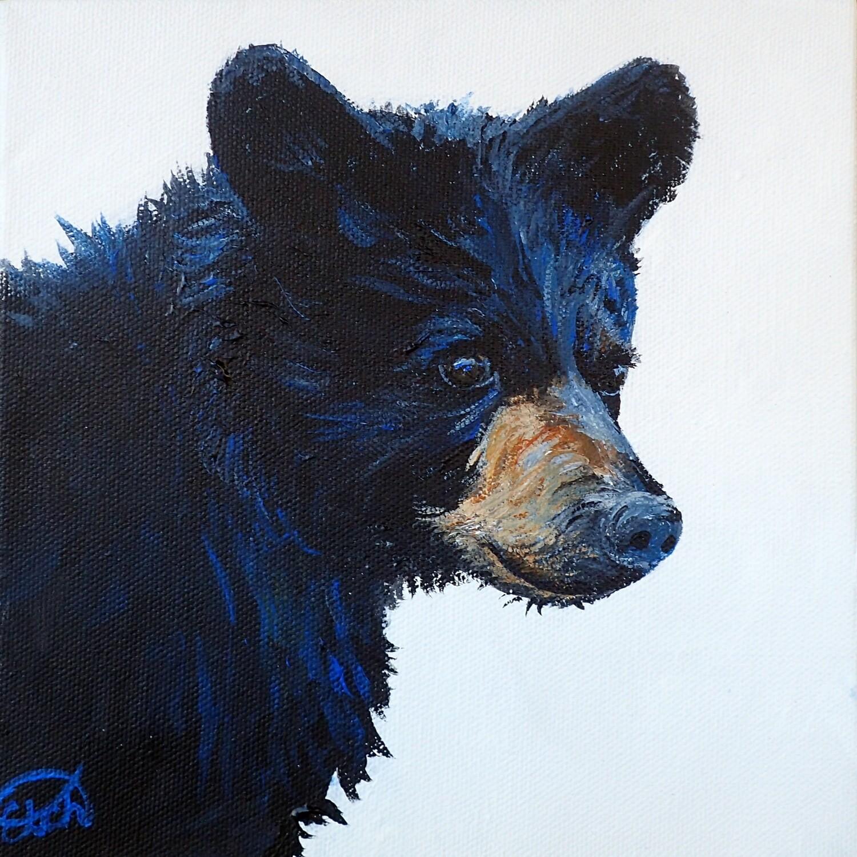 Black Bear Cub Mini Painting