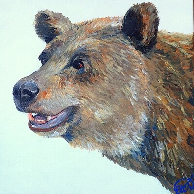 Mini Grizzly Bear Painting!