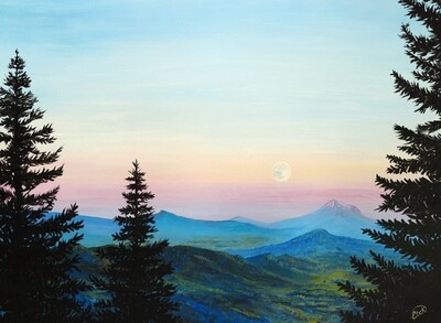 PRINT: Sunset and Moonrise