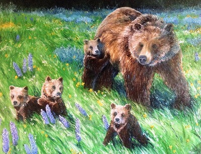 """""""Springtime Abundance"""" A portrait of Grizzly 399 and her 4 cubs"""