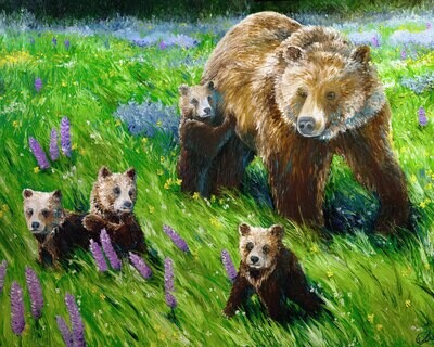 PRINT: Springtime Abundance: A Portrait of Grizzly 399 and Her Four Cubs
