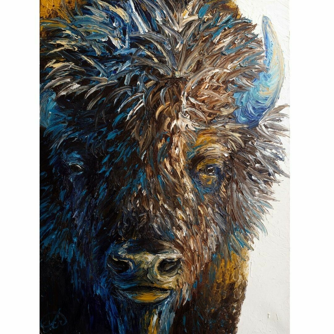 "Portrait of a Bull Bison  (18""x24"")"