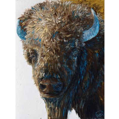"Bull Bison Portrait  (18""x24"") Framed"