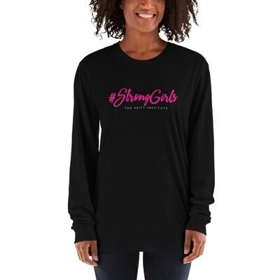 #StrongGirls Pink & White Logo Long Sleeve Shirt