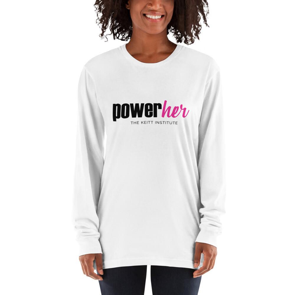 PowerHer Pink & Black Logo Long Sleeve Shirt