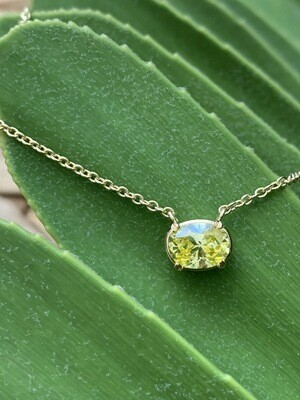 Oval Yellow Diamond Pendant