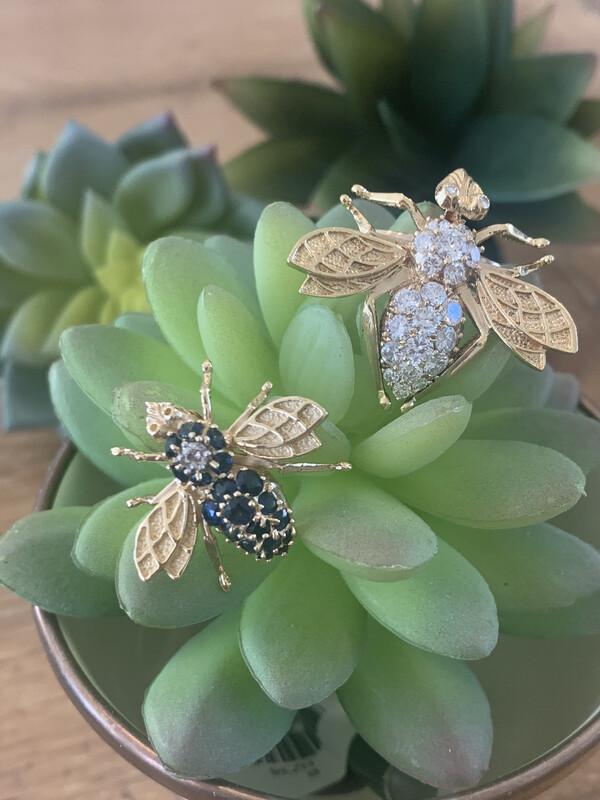 Genuine Sapphire and Diamond Bee Broach
