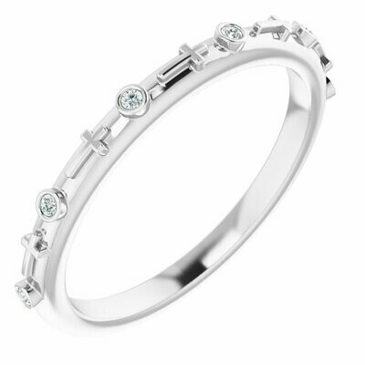 Bezel Set Diamond Rosary Ring