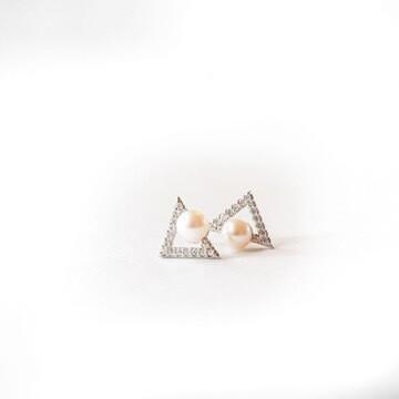 Cultured Pearl Diamond Triangle