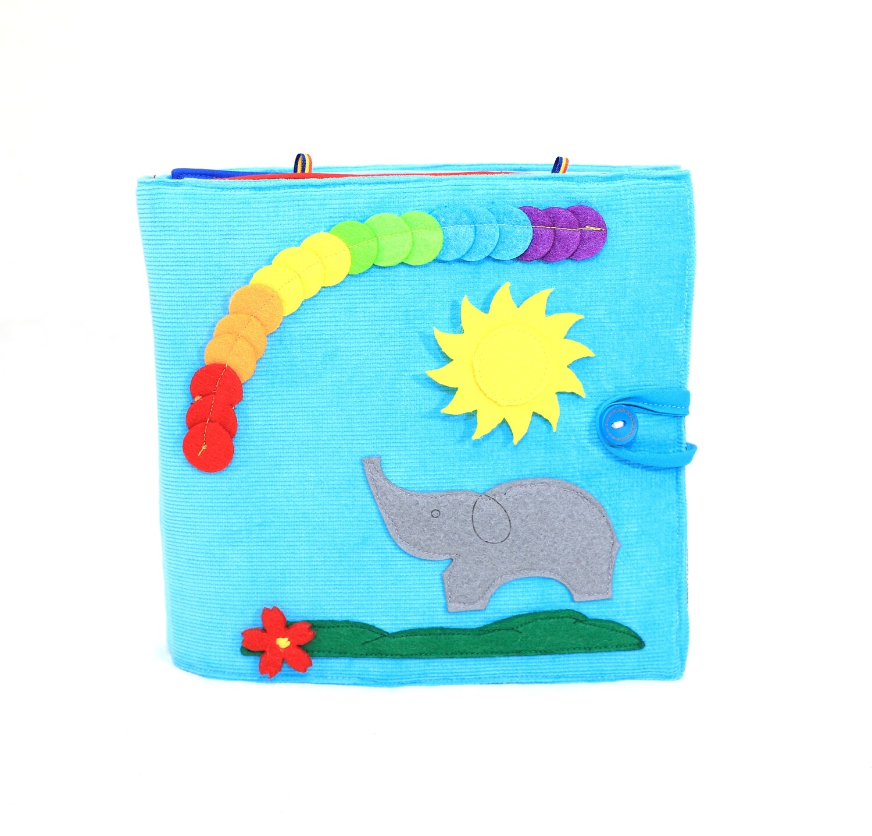 """""""Tantino Toys Blue Quiet Book"""" 100% genäht, pädagogisches Spielzeug, Kleinkindaktivitätsbuch, Geschäftiges Buch, Spielzeugbuch, Interaktives pädagogisches Buch"""