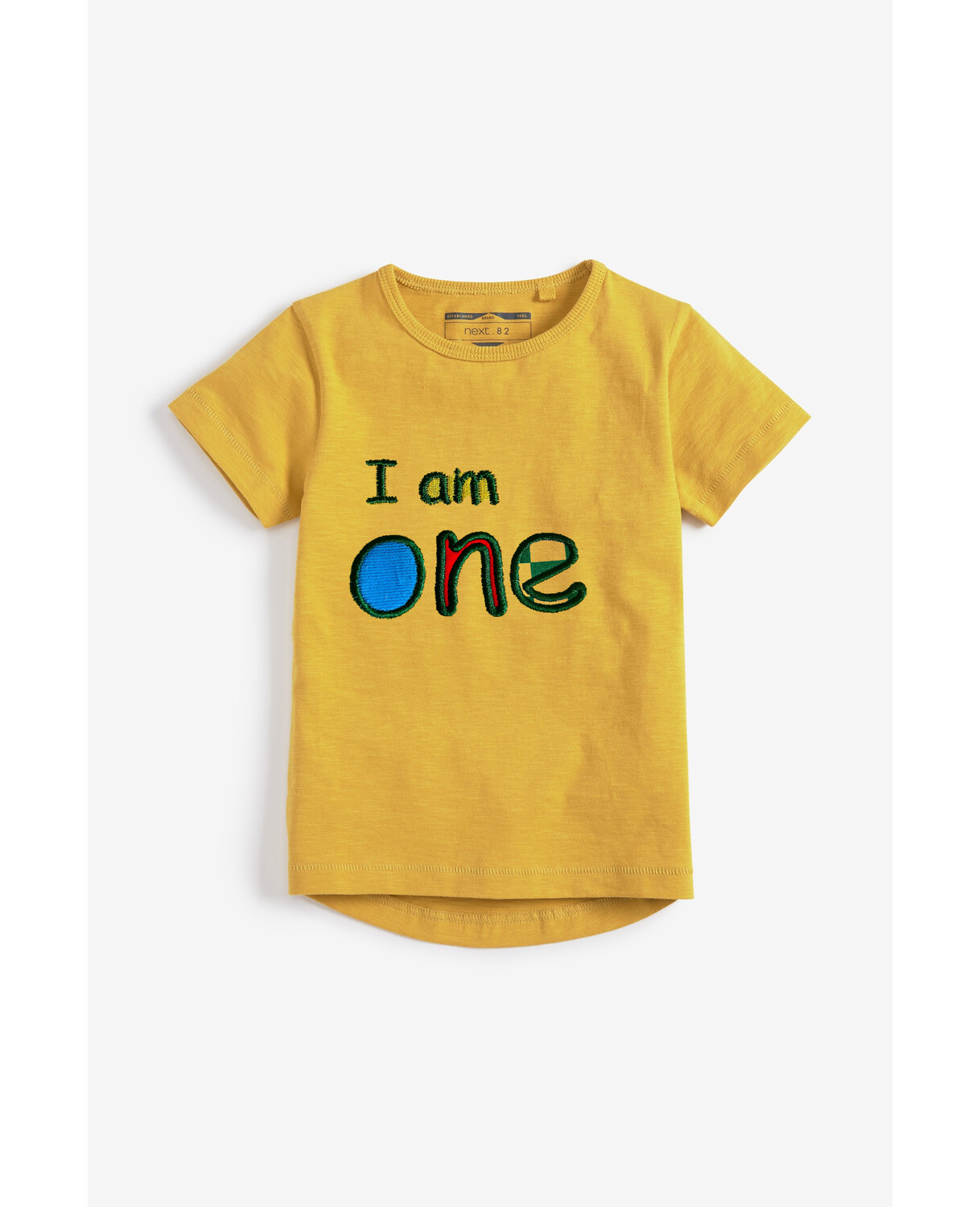 I am One Personalized Embroidered Short Sleeve Next Essential T-Shirt Cotton - 1st Birthday (Front and Back design)