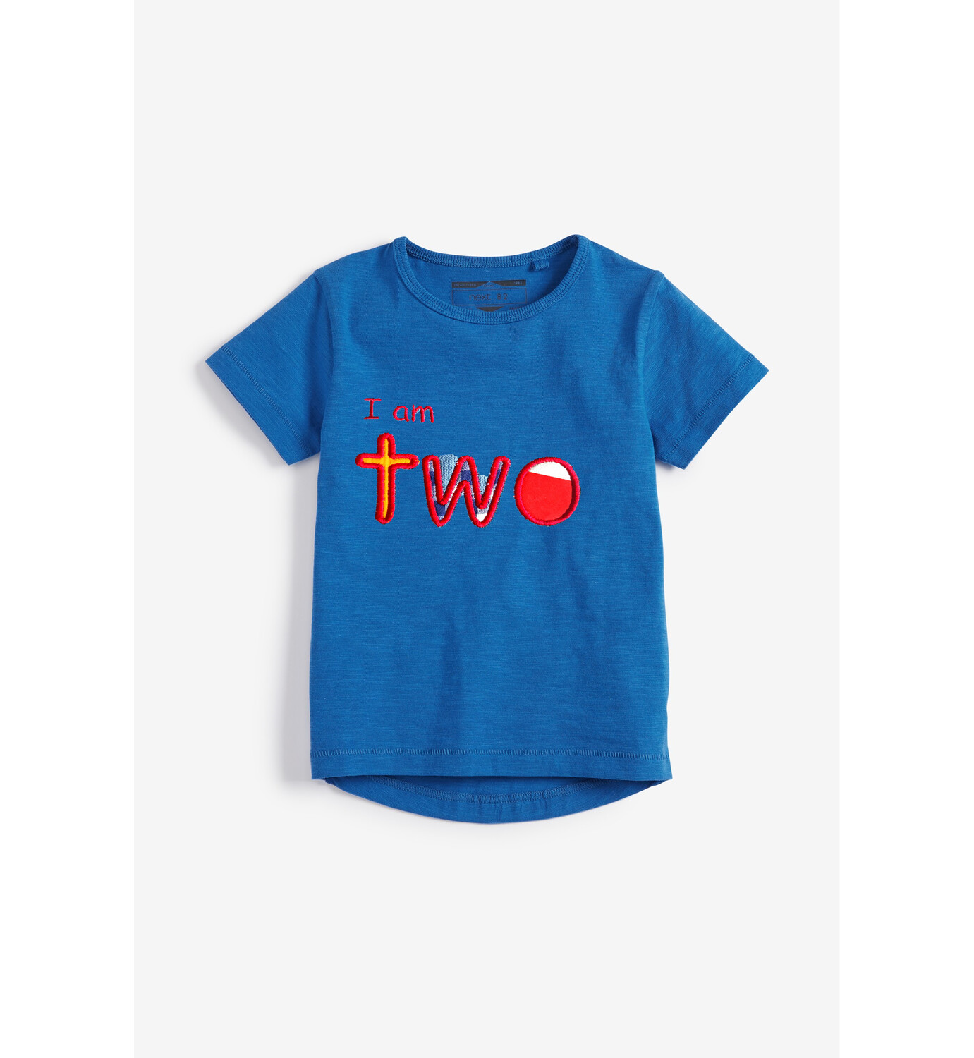 I am two Personalized Embroidered Short Sleeve Next Essential T-Shirt Cotton - 2nd Birthday (Front and Back design)
