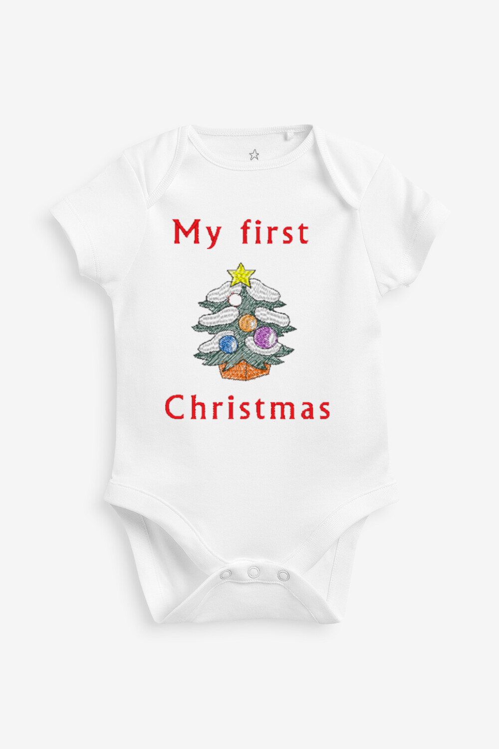 My First Christmas Embroidered Bodysuit Onesie