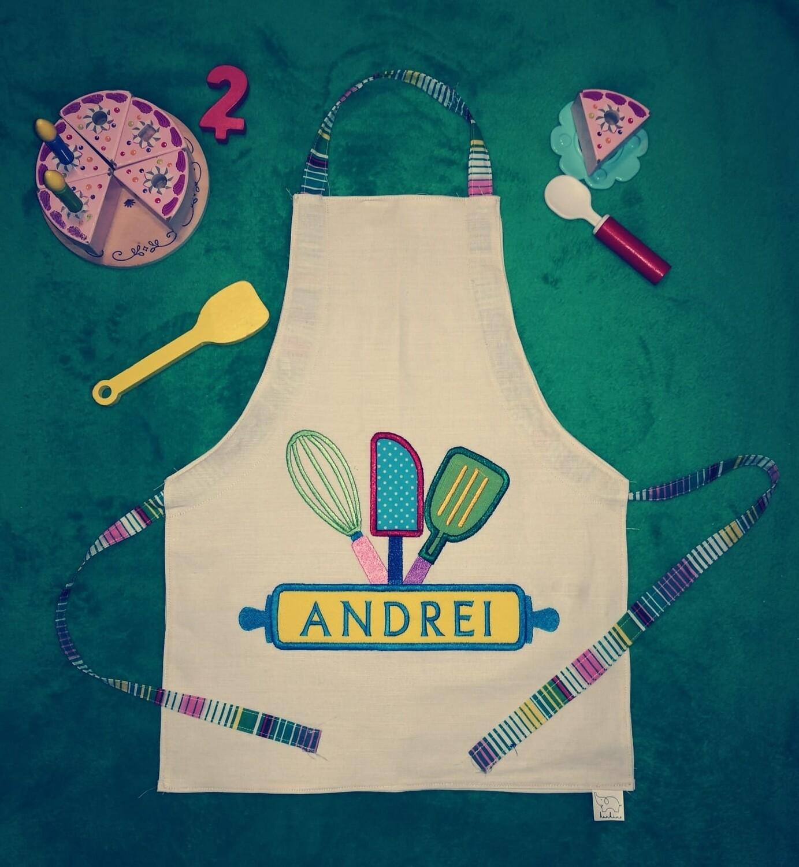KIDS Personalized Apron Little Baker Kitchen utensils. Christmas Kitchen Baking Apron