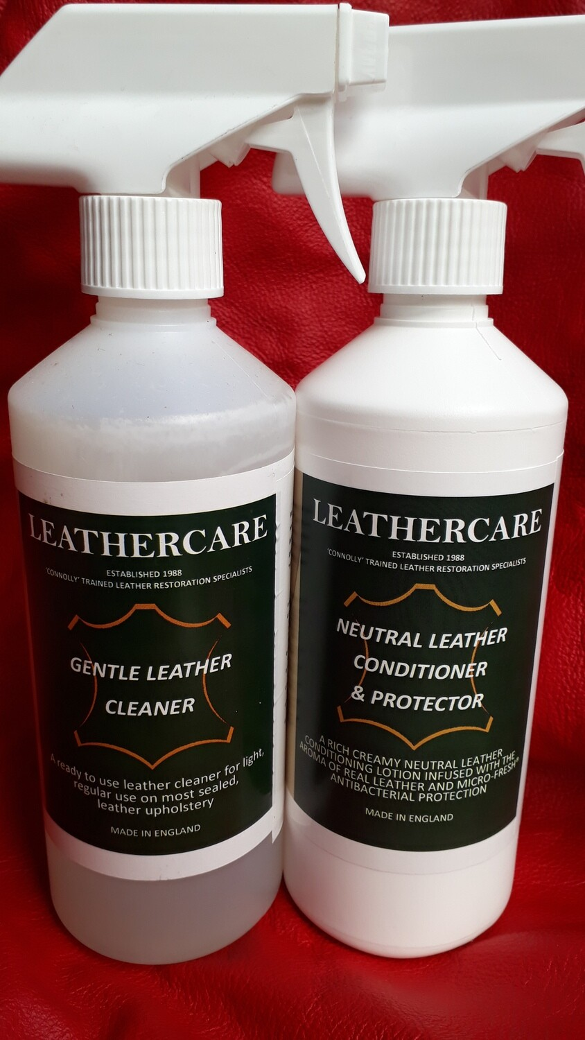 """Gentle """"Antibacterial"""" Leather Cleaner (500ml) & Neutral Leather Cleaner & Protector (500ml)"""