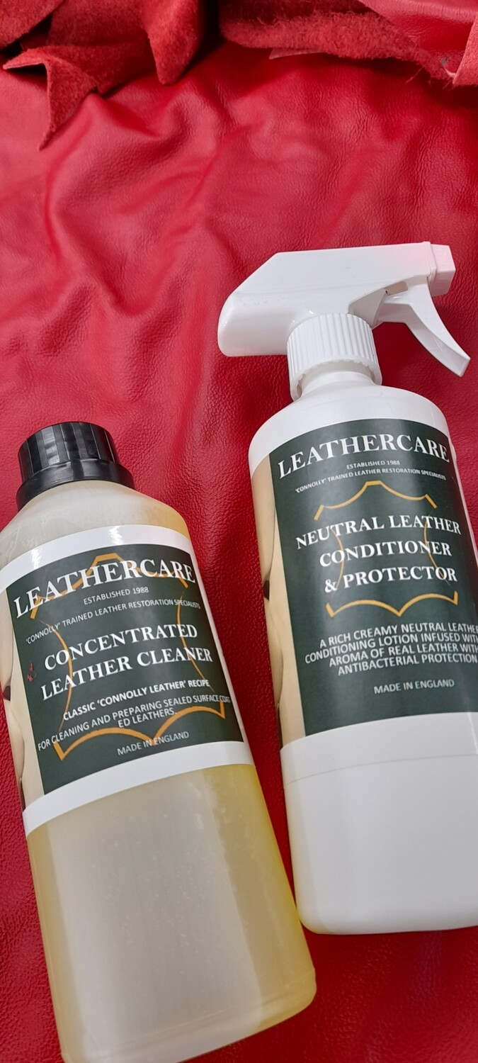 Neutral Leather Conditioner, Dye-guard & Antibacterial Protector (500ml) & Concentrated Leather Cleaner (500ml)
