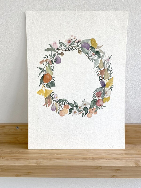 Wreath with Fruits and Florals