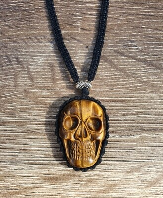 Tigers Eye Skull Necklace