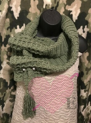 Olive Green Waffle Scarf