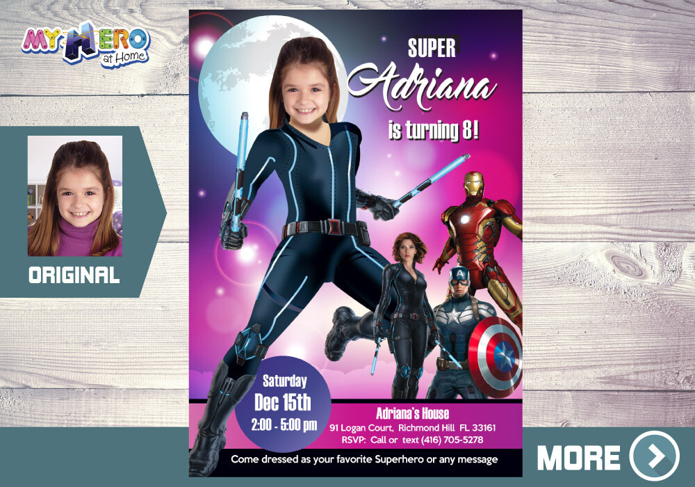 Black Widow Invitation, Black Widow Party, Girl Avengers Party, Black Widow Birthday, Girly Avengers Birthday, Invitación Viuda Negra, 073