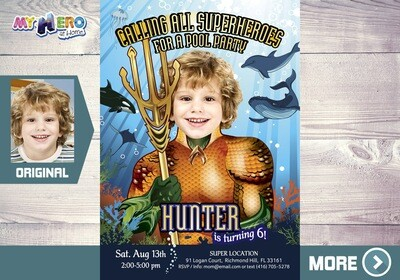 Aquaman Birthday Invitation. Aquaman Pool Party Ideas. Turn him into the King of Atlantis. Justice League Party Ideas. Aqua man Costume. 190