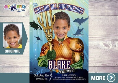 Aquaman Birthday Invitation. Aquaman Party Ideas. Turn your boy into the King of the Seven Seas! Justice League Party. Aquaman costume. 189