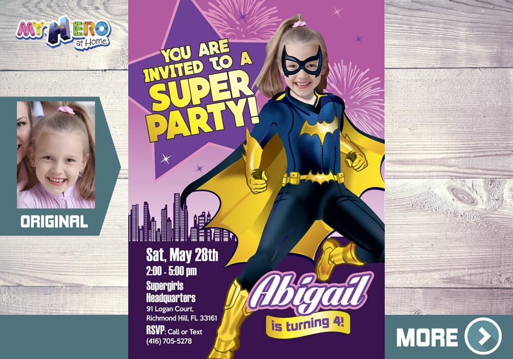 Batgirl Invitation. Batgirl Party. Batgirl Costume. Super Girls Birthday Ideas. Girly Justice League Party. Bat Girl Birthday. 185