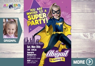 Batgirl Invitation. Batgirl Party. Batgirl Costume. Super Girls Birthday Ideas. Girly Justice League Party. Bat Girl Birthday. 185