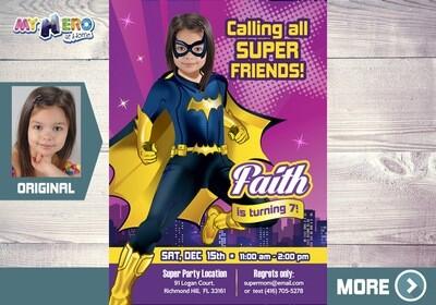 Batwoman Birthday Invitation, Batwoman Digital Invitation, Batwoman theme Party, Batwoman Birthday, Super Girls Party Invitation, 187