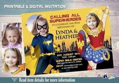 Batgirl and Wonder Woman Birthday Invitation. Super Sisters party Invitation. Siblings Super Hero Girls Party. Joint Super hero girls. 184